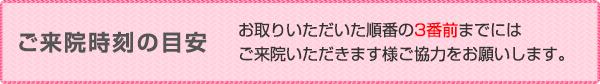 """ご来院時刻の目安 <div id=""""meyasu-title-raiin-message"""">お取りいただいた順番の<strong>3番前</strong>までにはご来院いただきます様ご協力をお願いします。</div>"""